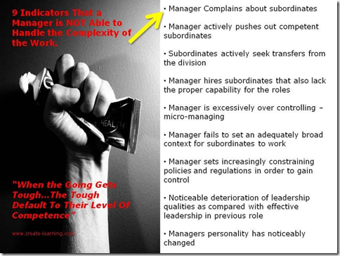 9 indicators that a manager is NOT able to handle the complexity of the work