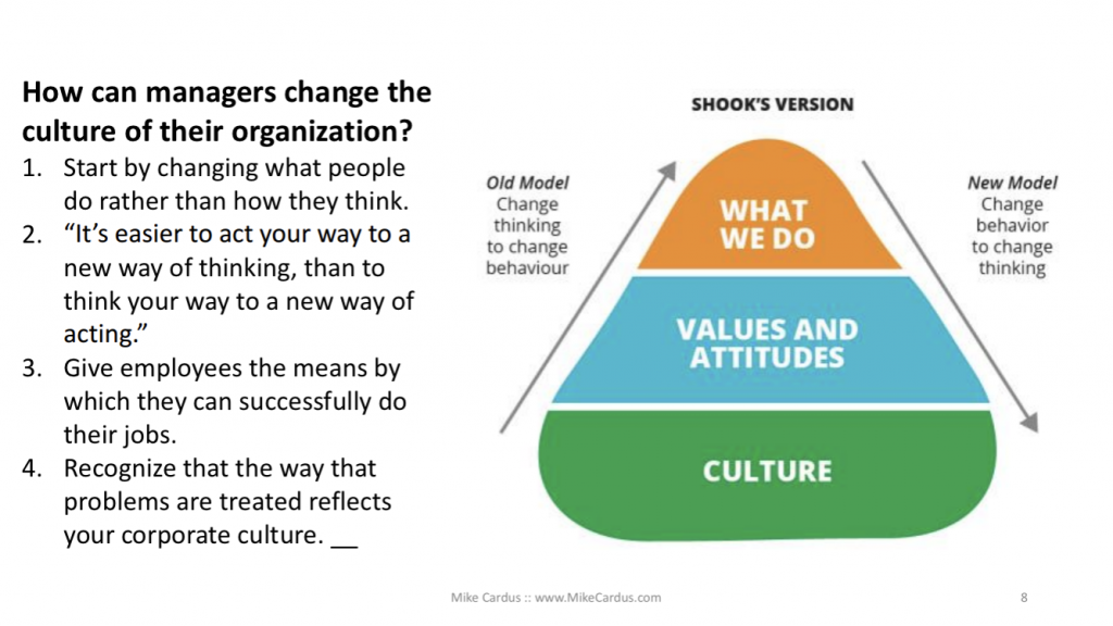 how can managers change the culture of their organization